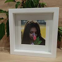 Рамка для фото белая 20х20 см + паспарту