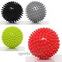 Мячик массажный, с пупырышками, MS 2096-1, твердый, Ø 7.5 см, окружность 23.5 см, разн. цвета