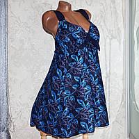 Большой купальник 68 размер (11XL). Летний синий купальник (платье) танкини, трусы хорошей посадки