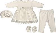 Крестильное нарядное платье костюм рост 62 2-3 мес велюровое молочное на девочку комплект одежда для крещения крестин новорожденных малышей М075