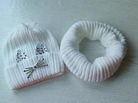 Комплект для девочки  (шапка+хомут) Зимняя шапка Размер 46-50 см, фото 7