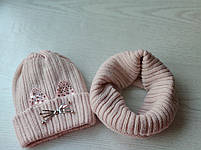 Комплект для девочки  (шапка+хомут) Зимняя шапка Размер 46-50 см, фото 6