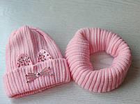 Комплект для девочки  (шапка+хомут) Зимняя шапка Размер 46-50 см Возраст 1-3 года, фото 3
