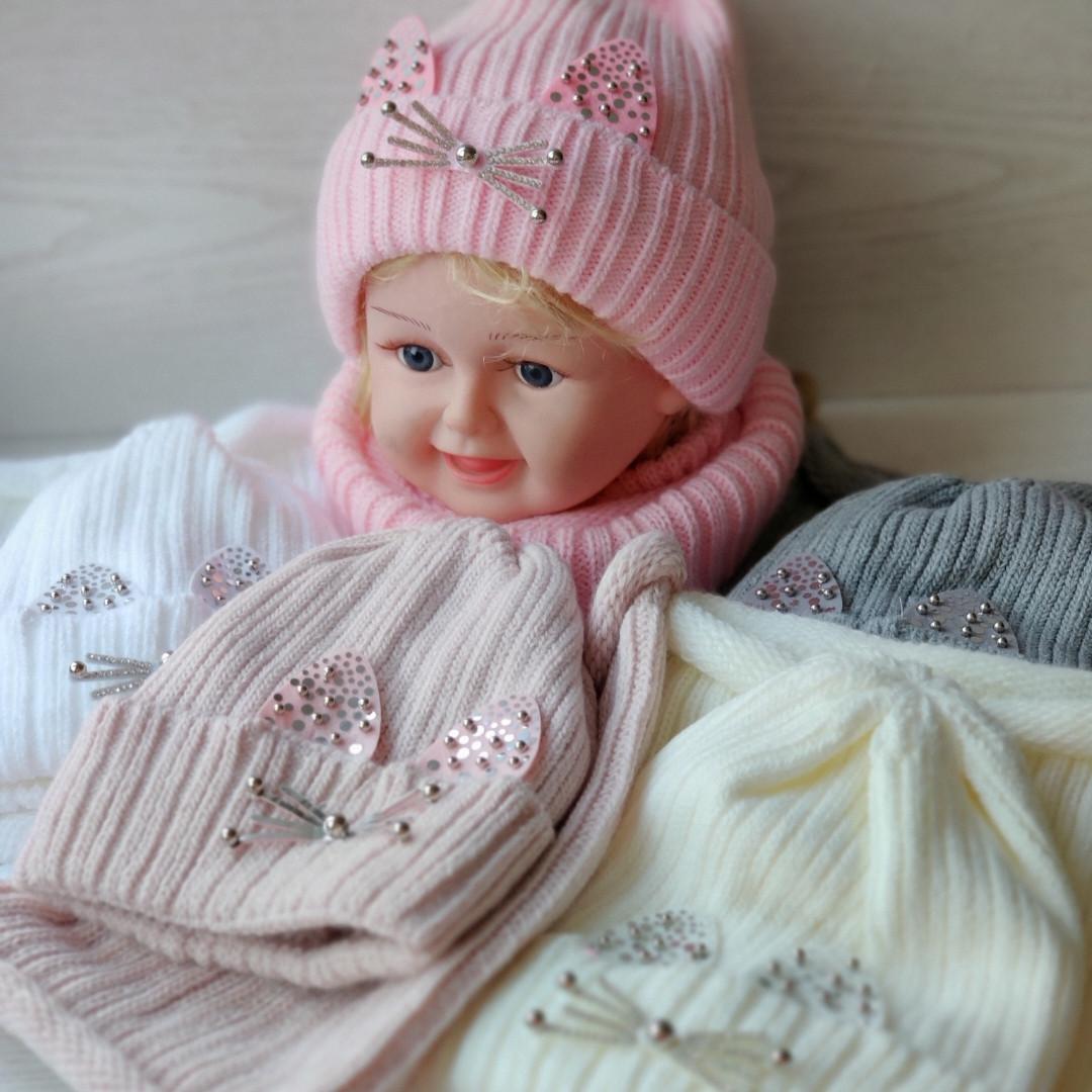 Комплект для девочки  (шапка+хомут) Зимняя шапка Размер 46-50 см
