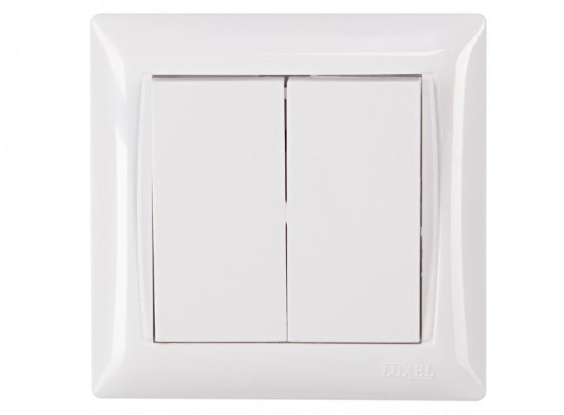 Выключатель двойной Luxel PRIMERA (3003) белый