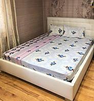 Комплект с простыней на резинке на матрас 160*200 см Турция №4 Синий