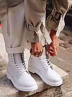 Демисезонные женские ботинки Dr.Martens Mono White кожаные белые