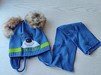 Комплект для мальчика  (шапка+шарф) с двумя помпонами Размер 42-44 см Возраст 3-6 месяцев, фото 6
