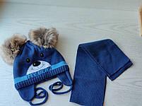 Комплект для мальчика  (шапка+шарф) с двумя помпонами Размер 42-44 см Возраст 3-6 месяцев, фото 5