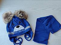 Комплект для мальчика  (шапка+шарф) с двумя помпонами Размер 42-44 см Возраст 3-6 месяцев, фото 4
