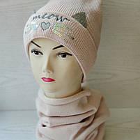 Комплект для девочки (шапка+хомут ) Размер 48-52 см Возраст 2-5 лет, фото 2