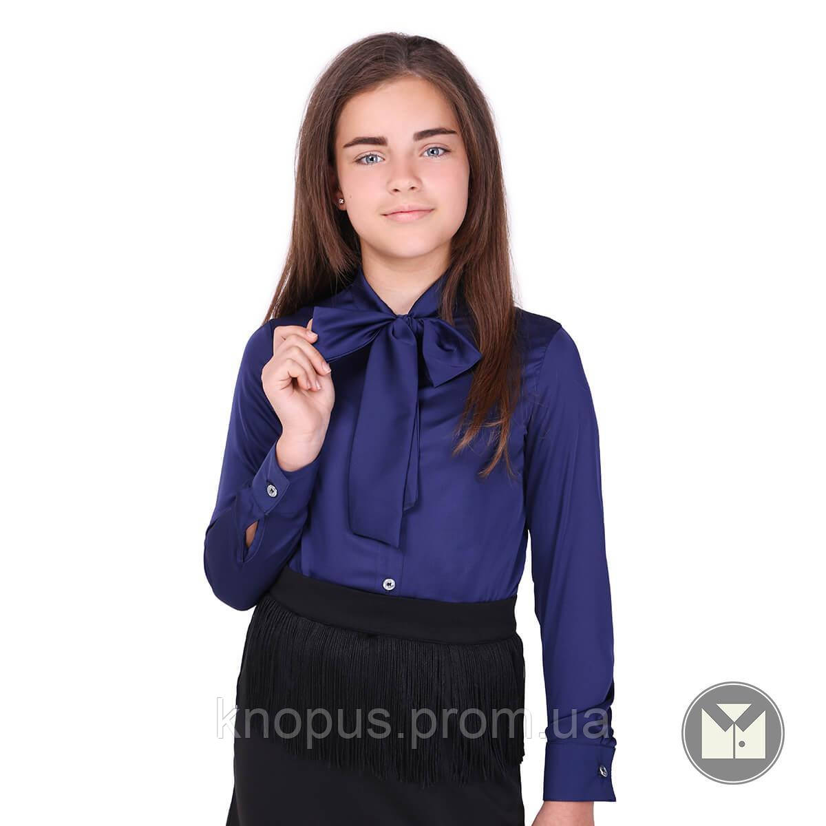 Блуза шкільна з коміром-бантом (синя), Тимбо
