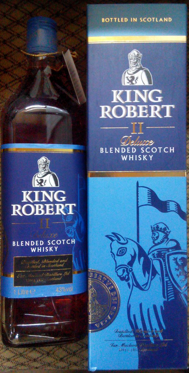Шотландский виски Кинг Роберт II 43% 1л в подарочной упаковке