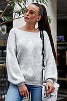Свитер женский теплый стильный белый с серыми ромбами теплый