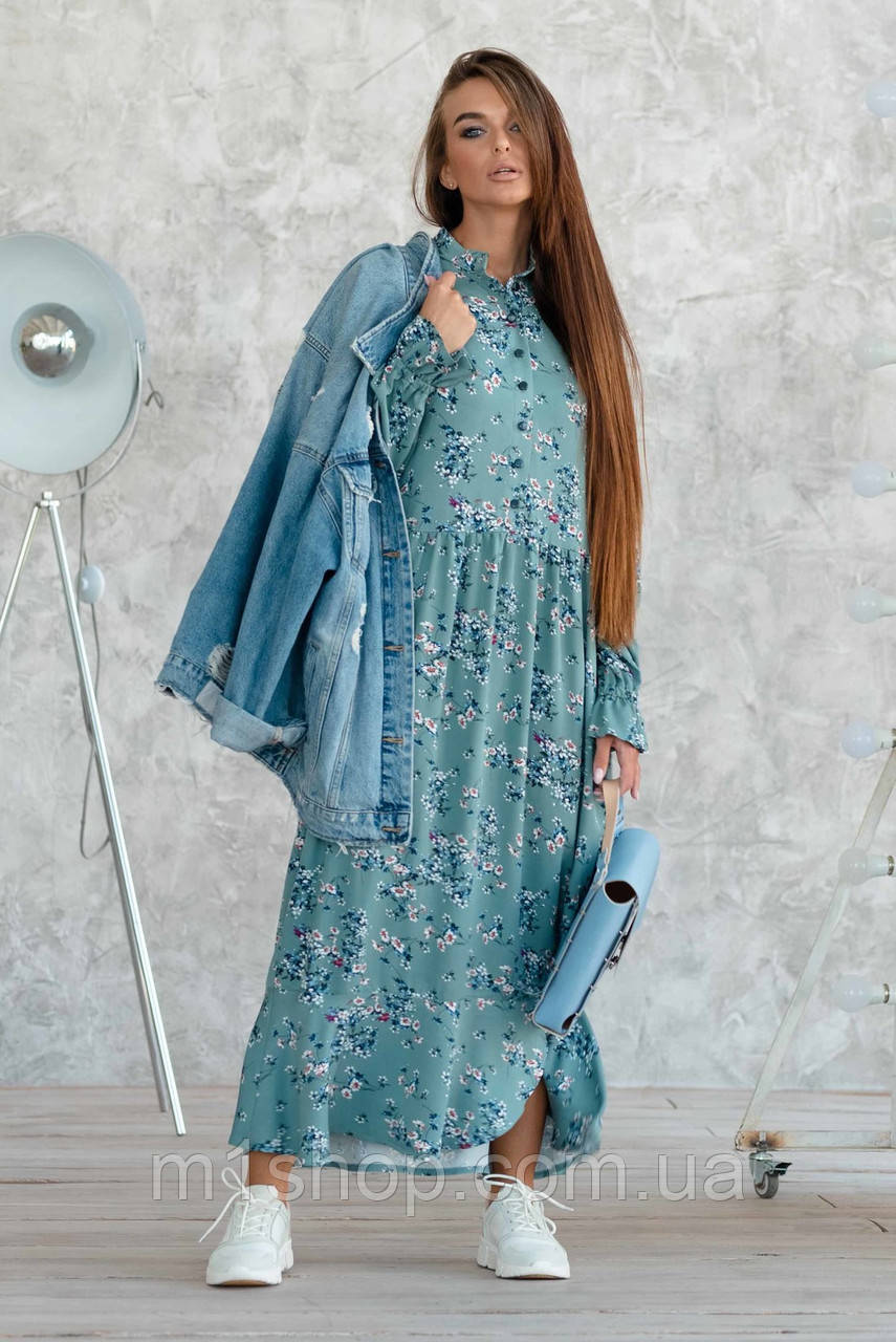 Платье-миди с принтом из натуральной ткани (Флорет ri)