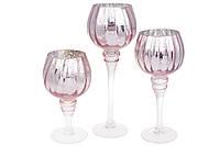 Набор 3 стеклянных подсвечника Isabelle Rose 20см, 25см, 30см, розовое серебро серебро