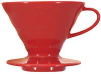 Пуровер Hario V60 02 красный керамический для заваривания кофе на 1-4 чашки