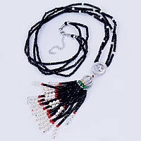 Колье в стиле Шанель с багетами циркония и черным венецианским жемчугом