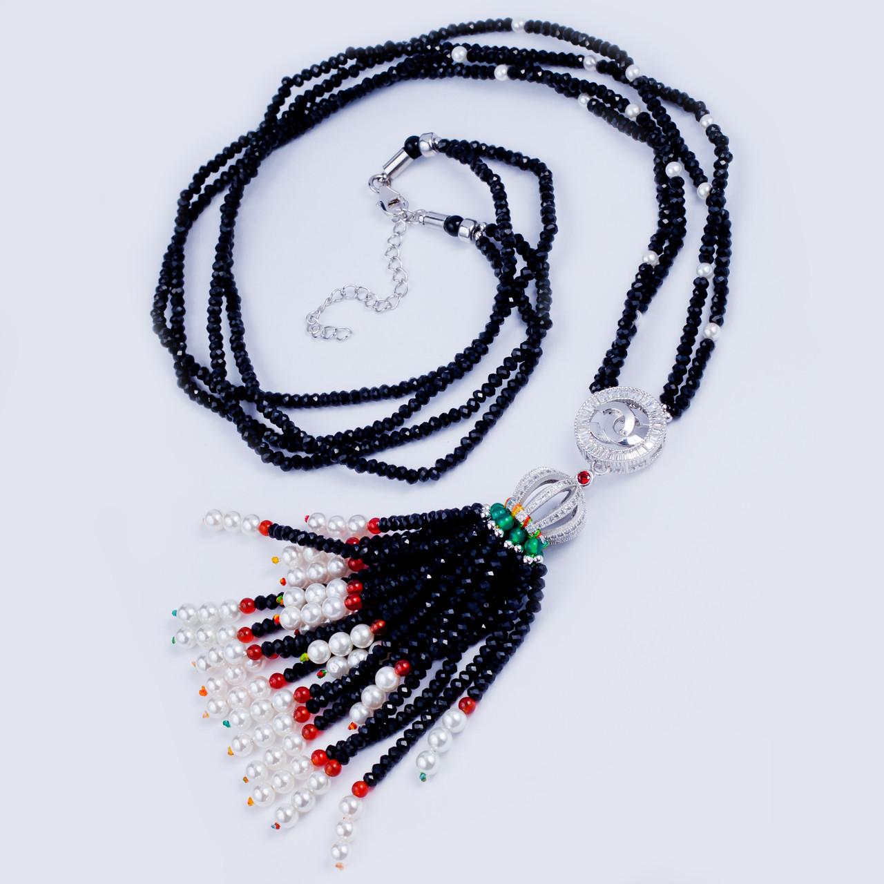 Колье в стиле Шанель с багетами циркония и черным венецианским жемчугом - J-B  в Одессе