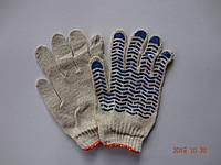 Перчатки белые х/б с ПВХ точкой ВОЛНА (упаковка 12 пар)