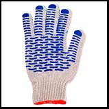 Перчатки белые х/б с ПВХ точкой ВОЛНА (упаковка 12 пар), фото 2