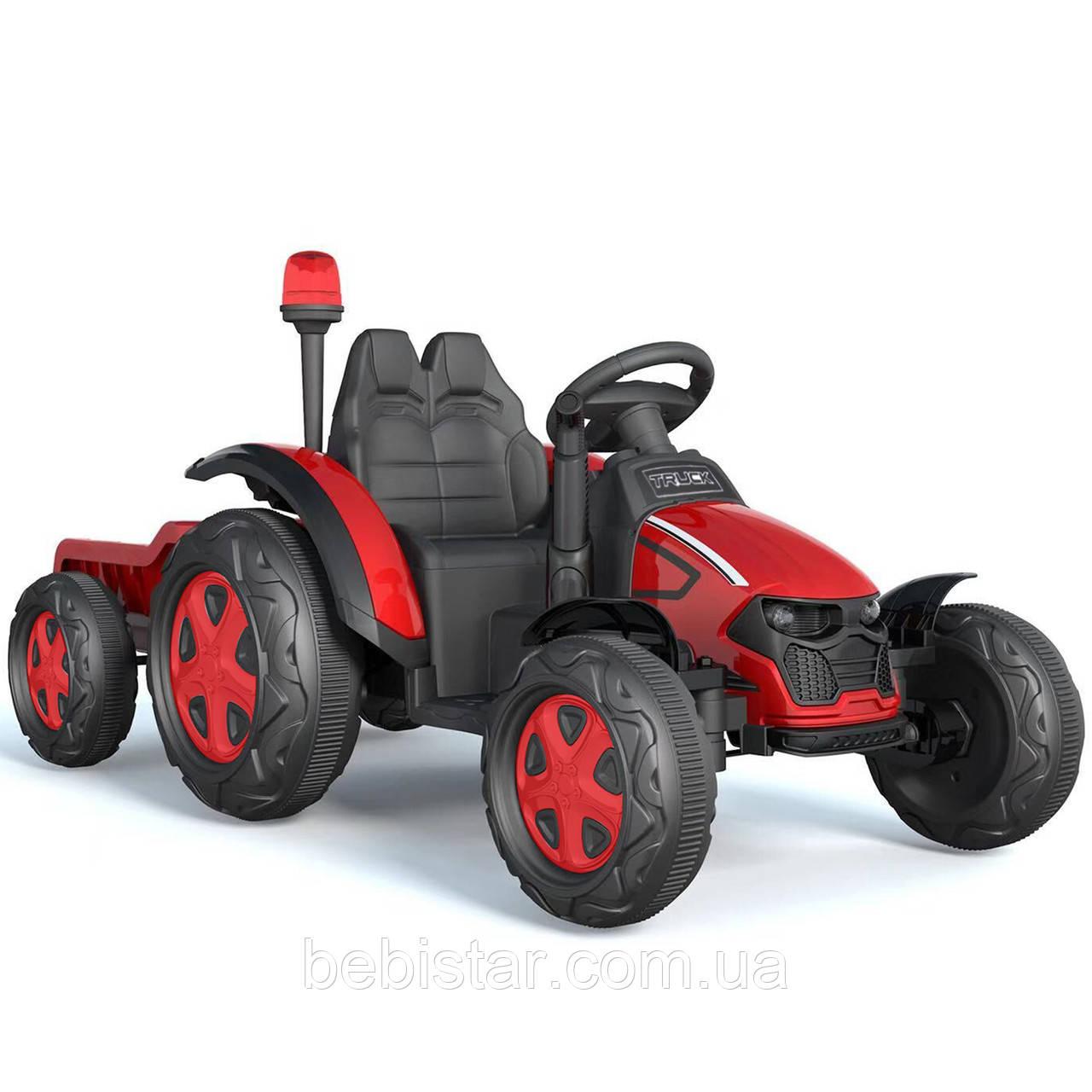Детский электромобиль трактор красный с прицепом на пластиковых колесах с пультом и МР3 размер 150х70х70см