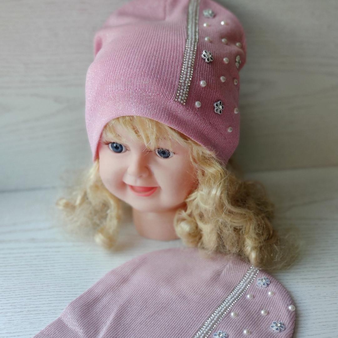 Демисезонная Шапуля для девочки Польская шапка Одинарная вязка Размер 44-48 см Возраст 6-18 месяцев