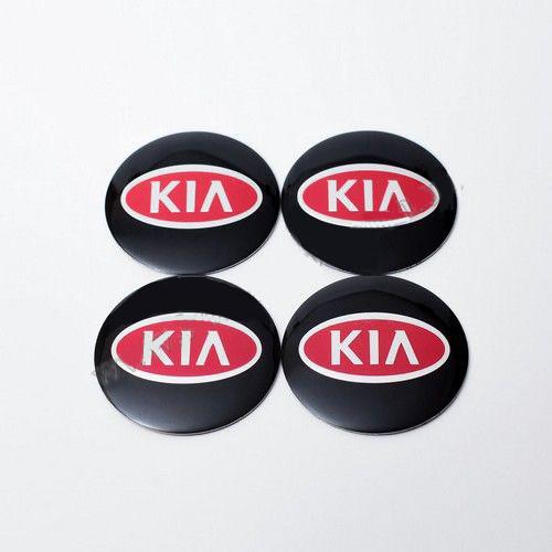 Наклейки для колесных колпачков в легкосплавные диски с логотипом   Kia черные/красн. лого (65 мм)