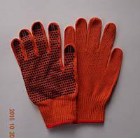 Перчатки оранжевые плотные х/б с ПВХ точкой, Польша (упаковка 10 пар)