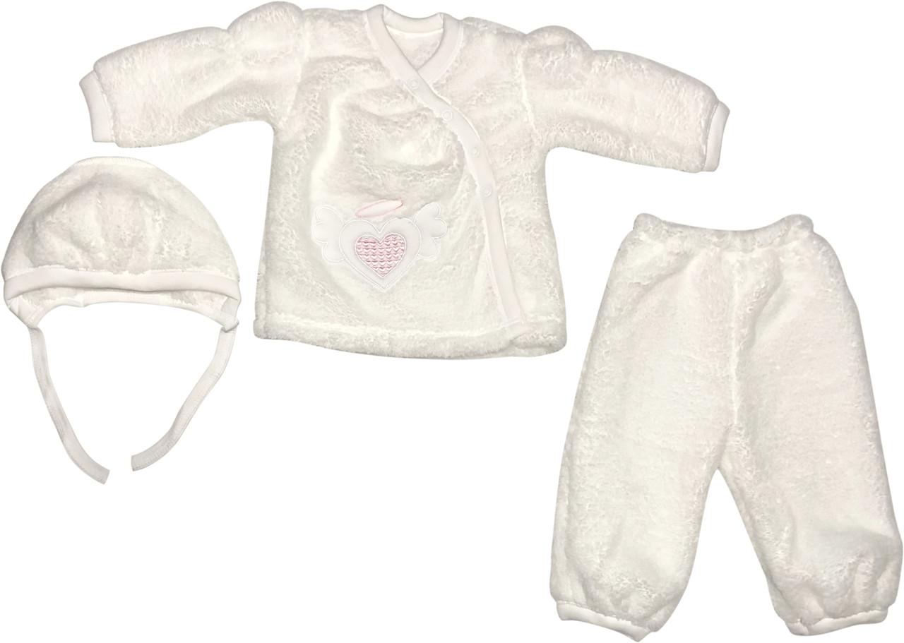 Тёплый крестильный нарядный костюм рост 62 2-3 мес махровый белый на девочку костюмчик одежда для крещения крестин новорожденных малышей Р325