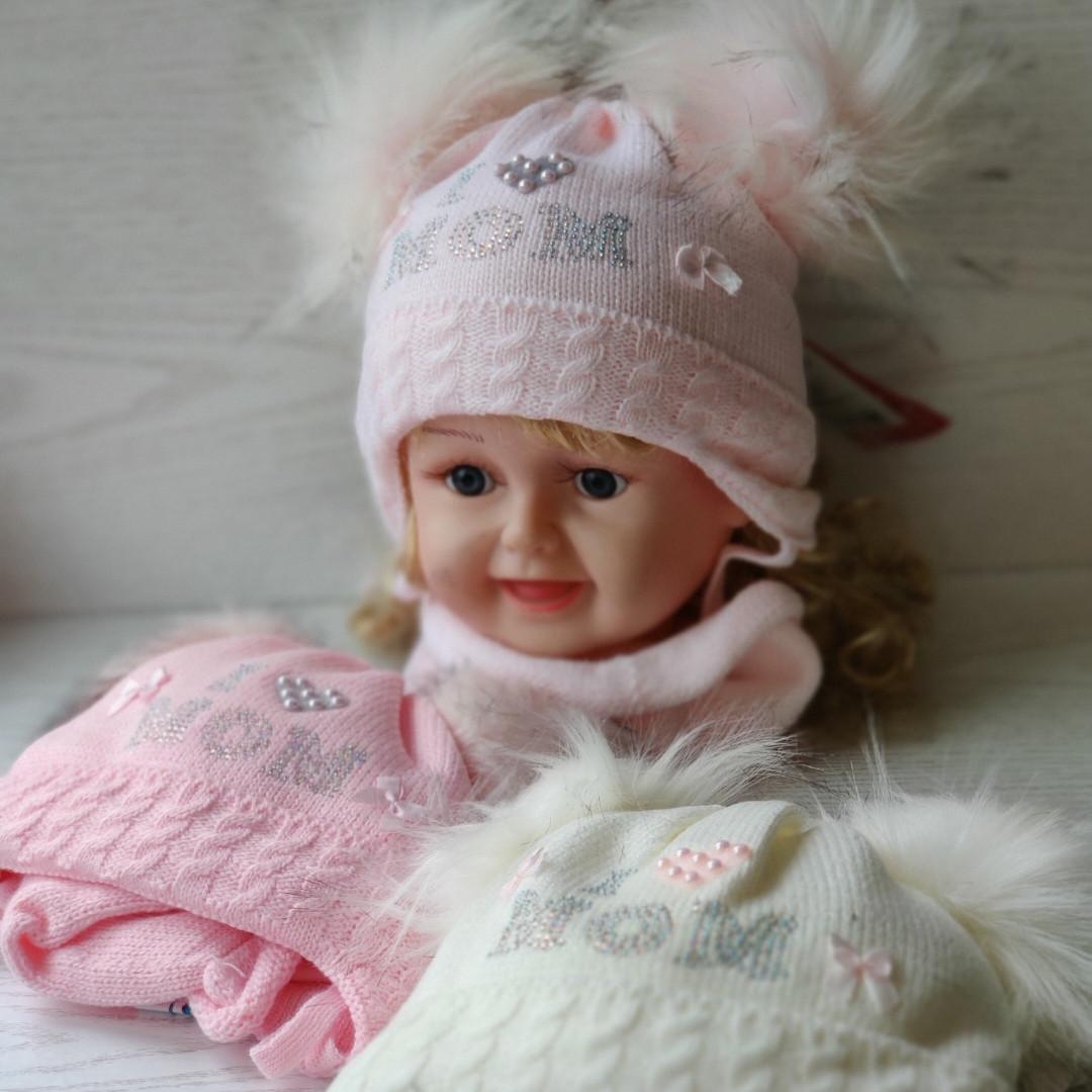 Комплект для девочки (шапка+ хомут) Ambra B4 Размер 40-42 см Возраст 2-4 месяцев
