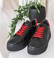 Кеды женские кожаные черные с красными вставками весна/осень (натуральная итальянская кожа)
