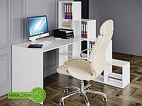 Угловой комп'ютерный стол со стеллажом лесенкой на 10 ячеек