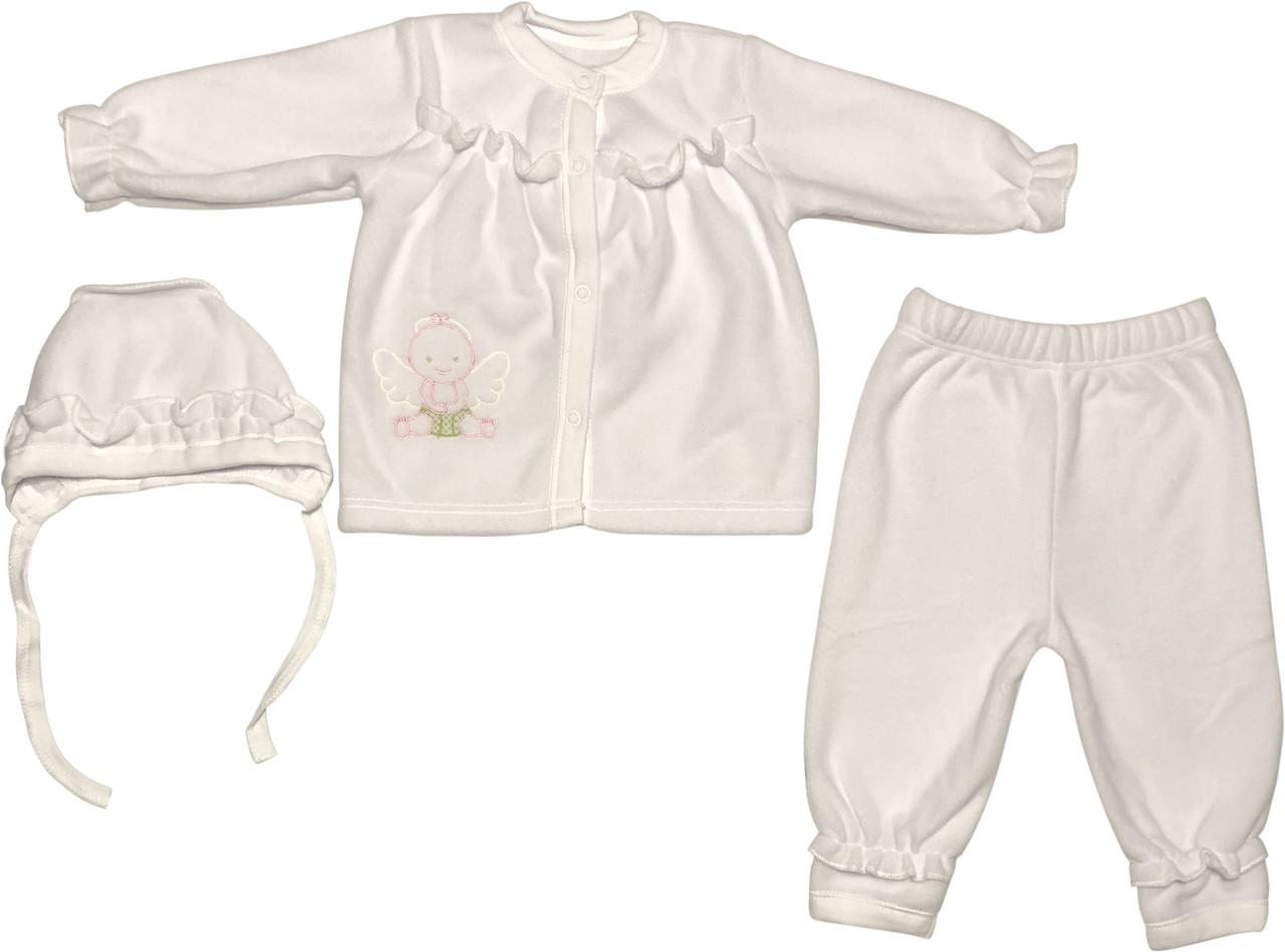 Тёплый крестильный нарядный костюм рост 62 2-3 мес флисовый белый на девочку костюмчик одежда для крещения крестин новорожденных малышей Б305
