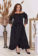 Платье большого размера в пол черного цвета