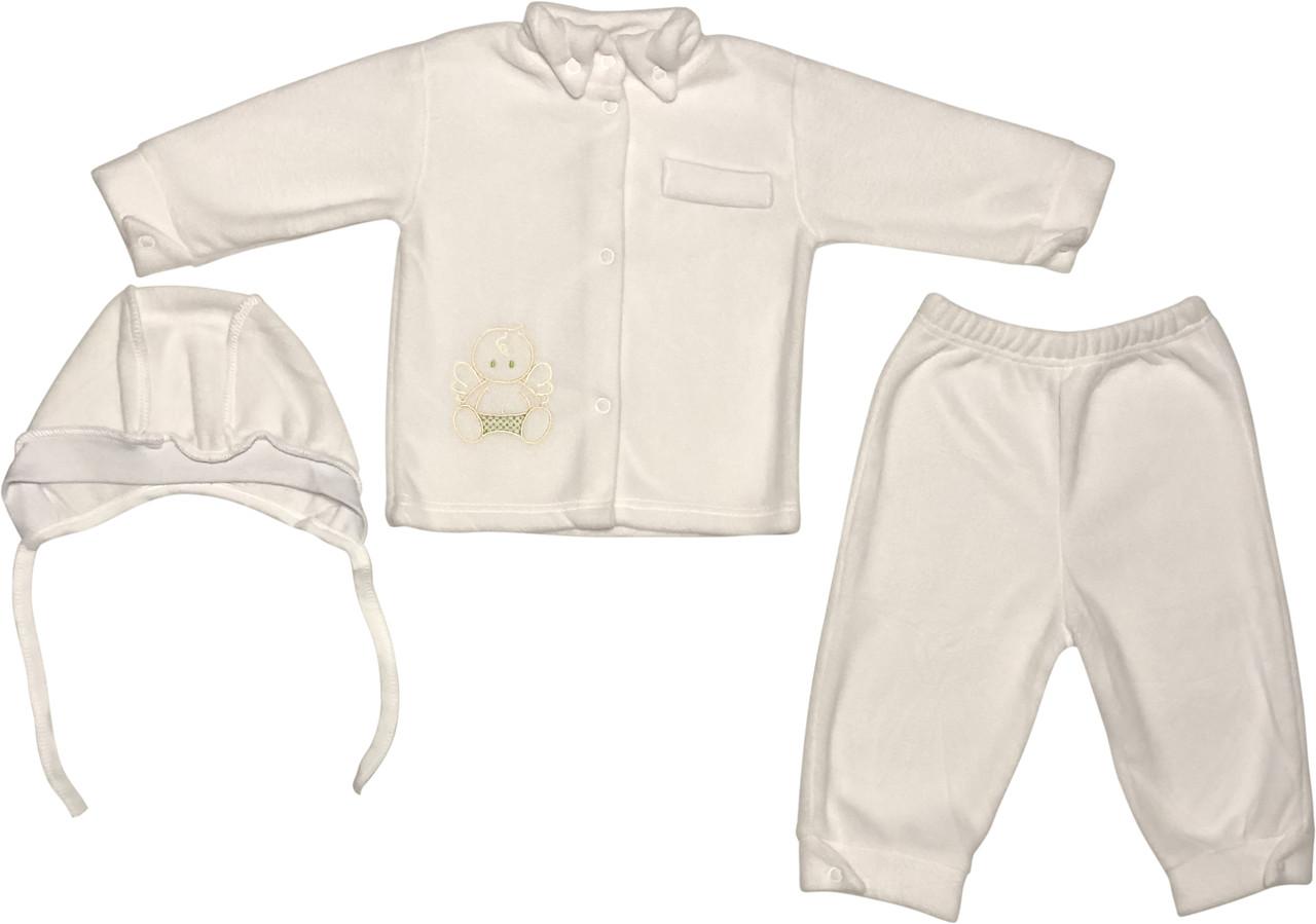 Теплий хрестильний костюм на хлопчика ріст 74 6-9 міс комплект наряд одяг для хрещення хрестин флісовий білий