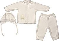 Теплий хрестильний ошатний костюм зростання 74 (6-9 міс.) фліс білий на хлопчика одяг для хрещення