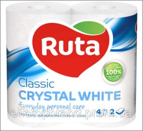 АКЦИЯ Туалетная Бумага Двухслойная Рулонная Рута Классик Ruta Classic Crystal White 4 шт Белая