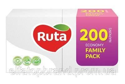 Салфетки Столовые Бумажные Целлюлозные Рута Ruta Economy Family Pack 200 л DUO 24 * 24 см Белые