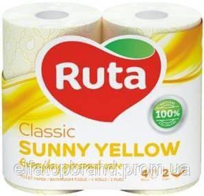 Туалетная Бумага Двухслойная Рулонная Рута Классик Ruta Classic Sunny Yellow 4 шт Желтая