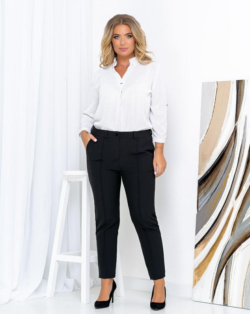 Женские штаны батал, креп - костюмка, р-р 50; 52; 54; 56 (чёрный)