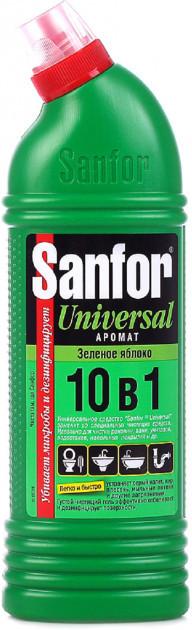 Универсальное Дезинфицирующее Противомикробное Моющее Средство 10 в 1 Зеленое яблоко SANFOR Санфор 750 мл.