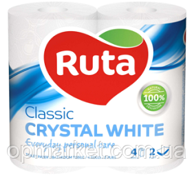 Туалетная Бумага Двухслойная Рулонная Рута Классик Ruta Classic Crystal White 4 шт Белая