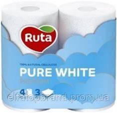 Туалетная Бумага Трехслойная Рулонная Рута Ruta Pure White Белая 4 шт