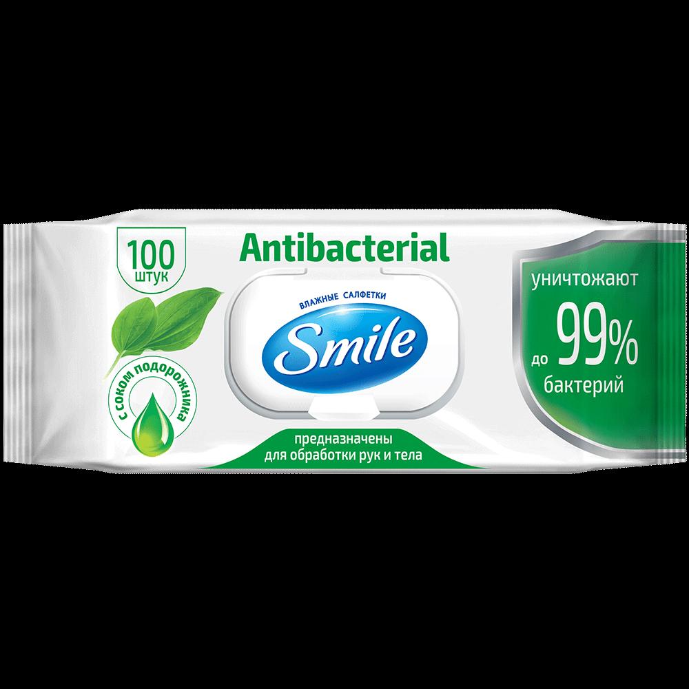 Серветка волога SMILE Antibacterial, 100 шт., з клапаном (9 шт/)