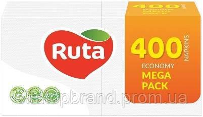 Салфетки Столовые Бумажные Целлюлозные Рута Ruta 100 л 24 * 24 см MEGA PACK Белые