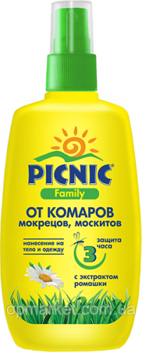 Спрей Лосьон От Комаров Мокрецов Москитов Пикник Picnic Family 100 мл