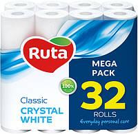 Туалетная Бумага Двухслойная Рулонная Рута Классик Ruta Classic Crystal White Mega Pack Белая 32 шт