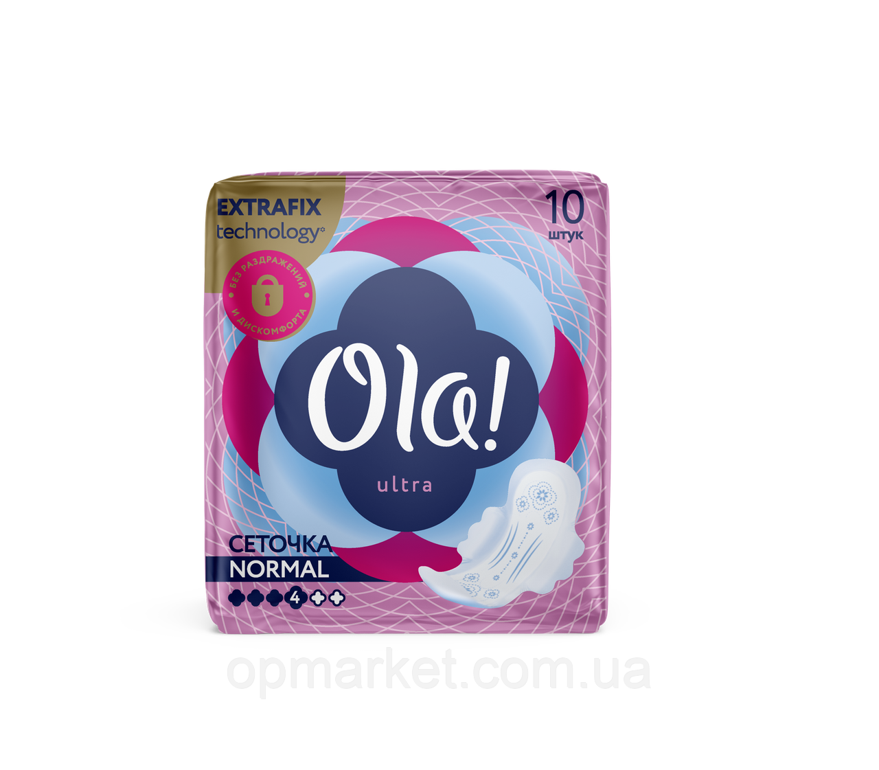Гигиенические Прокладки Для Нормальных Выделений С Сеточкой Ола Ola 10 шт + 2 шт Подарок 4 Капли