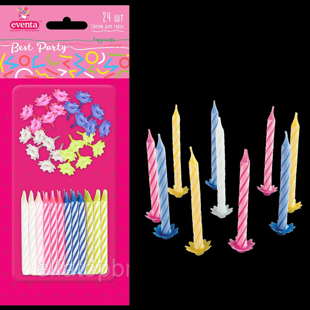 EVENTA свічки для торту МІКС з підставками